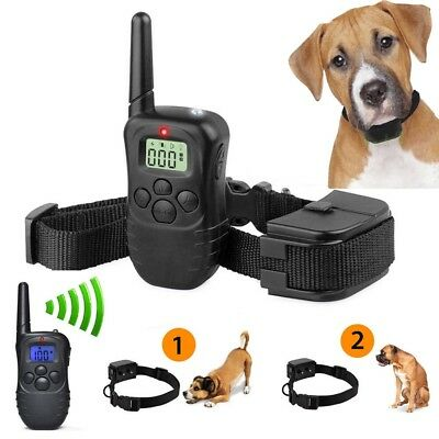 New Pet Dogs Remote Training Collar Electric LCD 100LV Shock Anti Bark Battery C