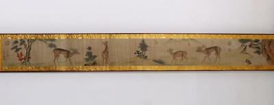 Li Di Signed Old Chinese Hand Painted Calligraphy Scroll w/Deer