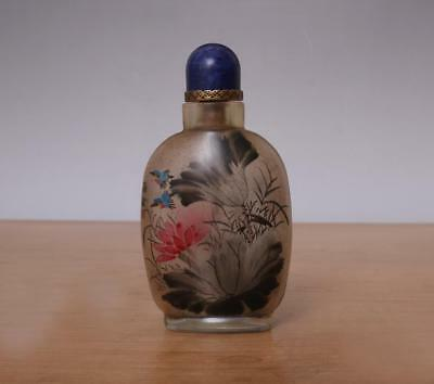Ding Erzhong Signed Chinese Glass inside Painting Snuff-bottle w/Bird&flower