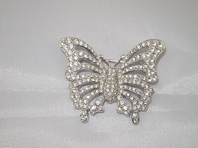 Swarovski Butterfly Pave Pin w/ Clear Pave Crystals - Swan Signature - Rare