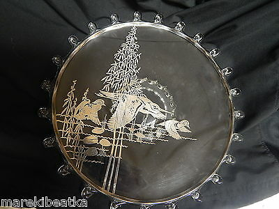 Vtg Clear Glass Plate, Server With Sterling Silveroverlay Duck,  Heron Design #2