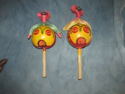 2 Vintage Maracas with Curaco Hand Painted Decoration