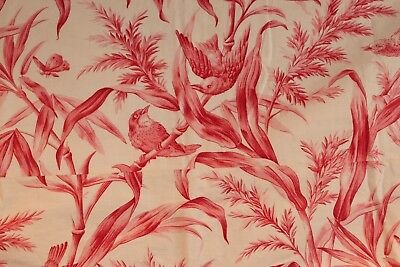 Antique French hand printed copperplate cotton bird butterfly pillow cover c1870