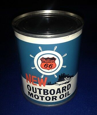 Hard to Find PHILLIPS 66 OUTBOARD MOTOR OIL 8 oz can NEW OLD STOCK Unopened!