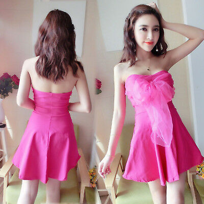 Sexy Women Off Shoulder Strapless Strap Bows Party Prom Clubwear Mini Dress