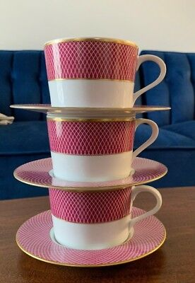 BLOCK SPAL Portugal Vintage 1980 Sunset Pattern Set of 3 Cups and 3 Saucers