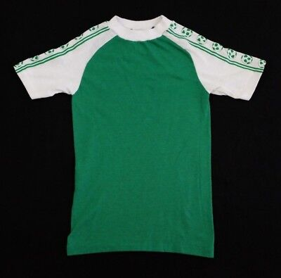 Vtg 1980s Soccer Ball Sleeve Raglan T-Shirt Youth Medium stripes green