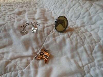 vintage sterling silver horse jewelry lot...