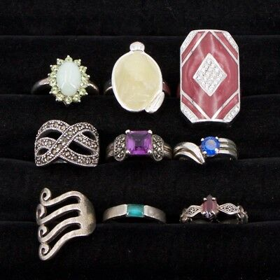VTG Sterling Silver - Lot of 9 Assorted Gemstone Rings NOT SCRAP - 55g