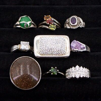 VTG Sterling Silver - Lot of 9 Assorted Gemstone Rings NOT SCRAP - 51g