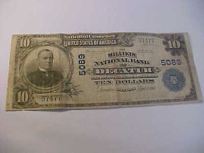 1902   $10 Large National Currency Banknote Charter 5089 Decatur Illinois