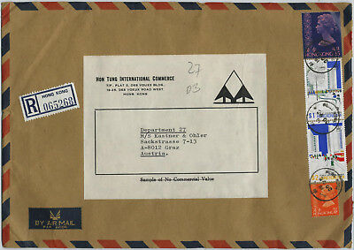 Hong Kong, registered Air Mail to Austria, heavy cover, 1981 (D)