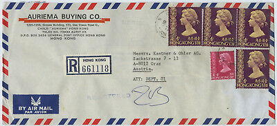 Hong Kong Queens Road, registered Air Mail to Austria, 1981 (D)