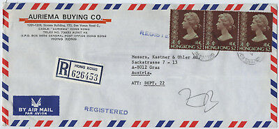 Hong Kong Queens Road, registered Air Mail to Austria, 3 Stamps @ 3$, 1981 (D)