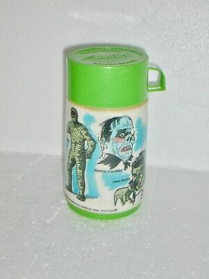 Vintage UNIVERSAL MOVIE MONSTERS Thermos for Lunchbox 1979 mummy Frankenstein