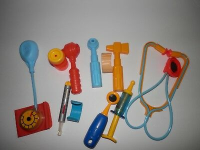 Vintage Fisher Price Doctor Nurse Medical Kit Play Set Pretend Toy  11 tools