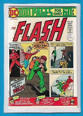 THE FLASH #229_OCTOBER 1974_FINE+_KID FLASH_BRONZE AGE DC 100 Pg GIANT!