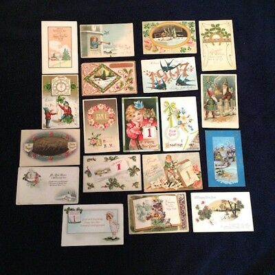 Postcards Lot of19 Vintage New Year Shabby Chic Junk Journal Scrapbooking A7