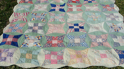 "1930s all hand quilted cotton patchwork quilt, 70"" x 69"", as is no reserve"