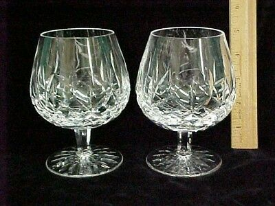 """Pair of Vintage Waterford Lismore Brandy Whiskey Snifters Glasses 5 1/8""""  12oz"""