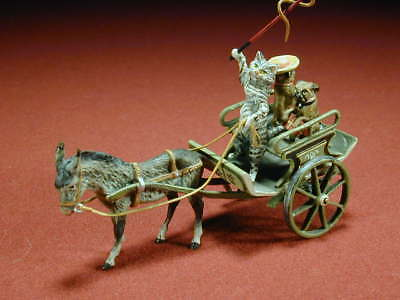 Vienna Bronze Donkey Pulling Cart - Cat - Two Dogs  - Cold Hand Painted Bronze