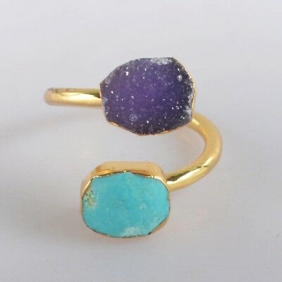 Size 6.5 Agate Druzy & Genuine Turquoise Adjustable Ring Gold Plated H123816