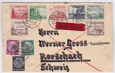 GERMANY DEUTSCHES REICH Special Delivery cover with 9v complete ship set B28886