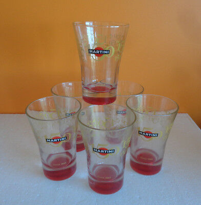 6 Verres MARTINI 150 ans Since 1863 fond rouge