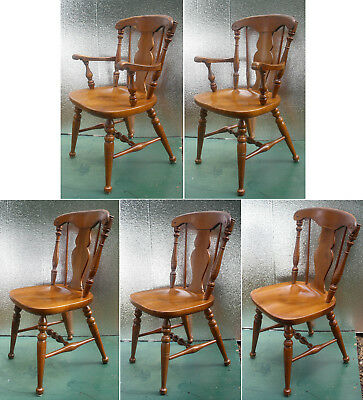 5 Vintage Antique Heywood Wakefield Fiddleback Wood Wooden Dining Chair Armchair