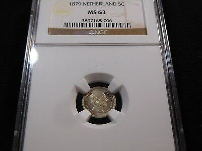 K29 Netherlands 1879 5 Cents NGC MS-63
