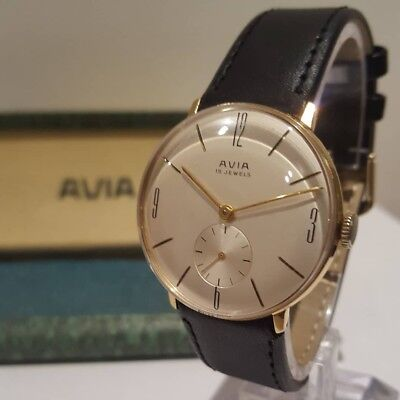 Superb AVIA 15 Jewel Sub Vintage Mens Watch - Boxed - Excellent Order