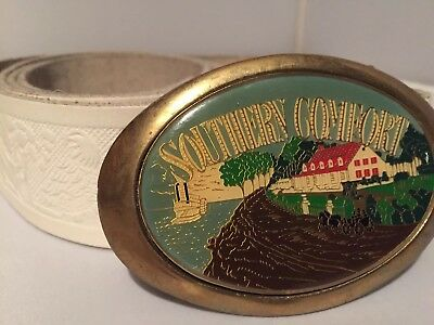 Country Western Line Dancing Embossed Eagles Southern Comfort Buckle-white Leath