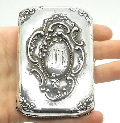 Antique Victorian Sterling Silver Engraved Ornate Etched CIGARETTE Holder Case