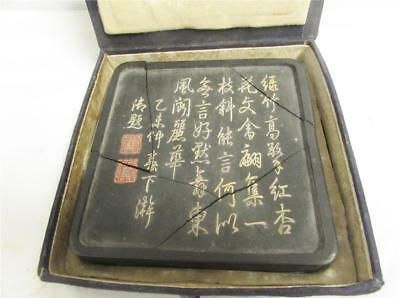 Large Vintage Antique Chinese Wax Seal Tablet Signed Touch Marks (Af)