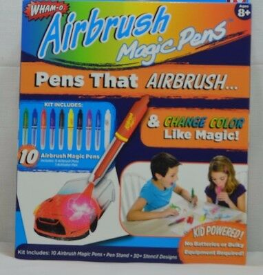 NEW! WHAM-O Airbrush Magic Pens Color Changing As Seen on TV Markers & Stencils
