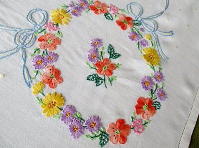 Vintage Tablecloth Hand Embroidered Flowers & Bows-Linen