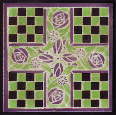 Super Antique Tile Circa 1900 FOURMAINTRAUX COURQUIN Et FILS Glasgow Roses