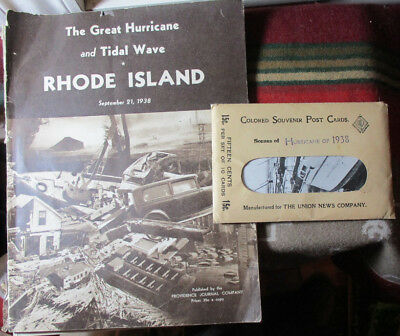 1938 2 Items GREAT HURRICANE & TIDAL WAVE RHODE ISLAND & 10 COLORED POST CARDS