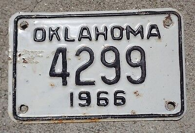 Oklahoma 1966  motorcycle  license plate # 4299