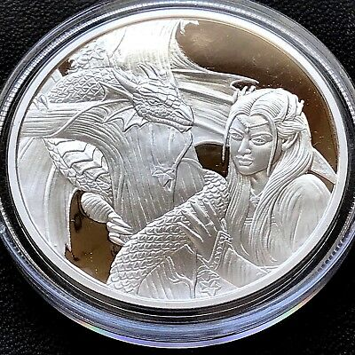 Anne Stokes Dragons Kindred Spirits 1 oz .999 Silver Proof Hot Girl Dragon Round