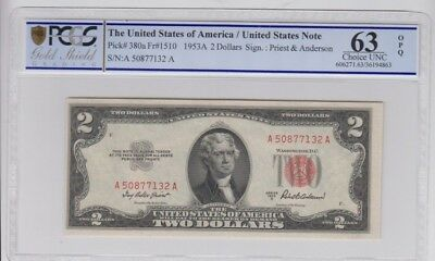 Red Seal U.S. Note $2 1953-A PCGS Gold Shield graded choice Unc 63 OPQ