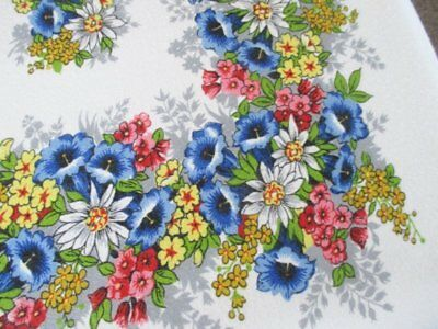 Vintage Tablecloth - Colourful Swiss Mountain Flowers