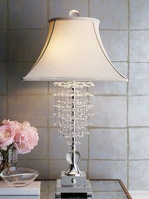 Fascination Table Lamp Beaded Clear Glass Crystal 33H Hollywood Glam Luxe New