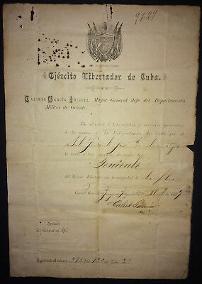 1897 Cuba Independence ~ Signed Document CALIXTO GARCIA IñIGUEZ as Major General