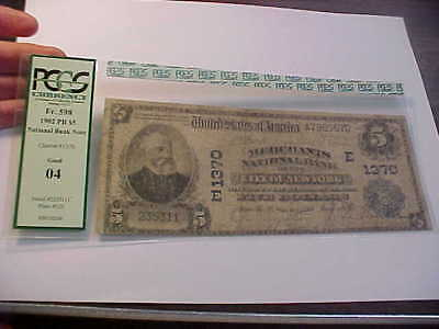 1902  $5  Large National Currency Banknote Charter 1370 New York Pcgs Good 04