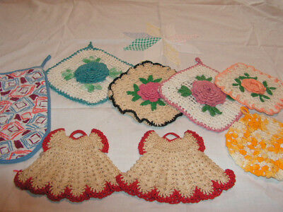 Vintage Potholders 8 Potholders & Oven Mitt Dress Potholders Crochet Pot Holder