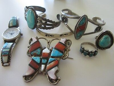 Fabulous vintage lot of native american sterling silver jewelry