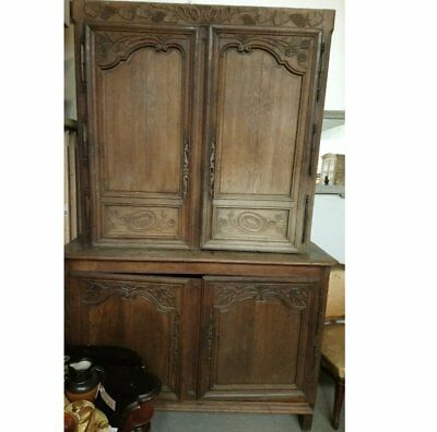 Antique French carved oak farrmhouse buffet larder housekeepers cupboard