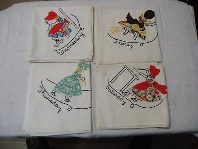 Vintage Hand Appliqued Flour Sack Cloth Dish Towels, Set of 4; Weekday Chores