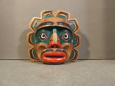 Small Hand Carved & Painted Tribal Tlingit Northwest Coast Wall Hanging Mask